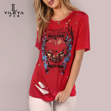 Woman summer cotton t-shirt hip hop ,customise red t shirts made in china