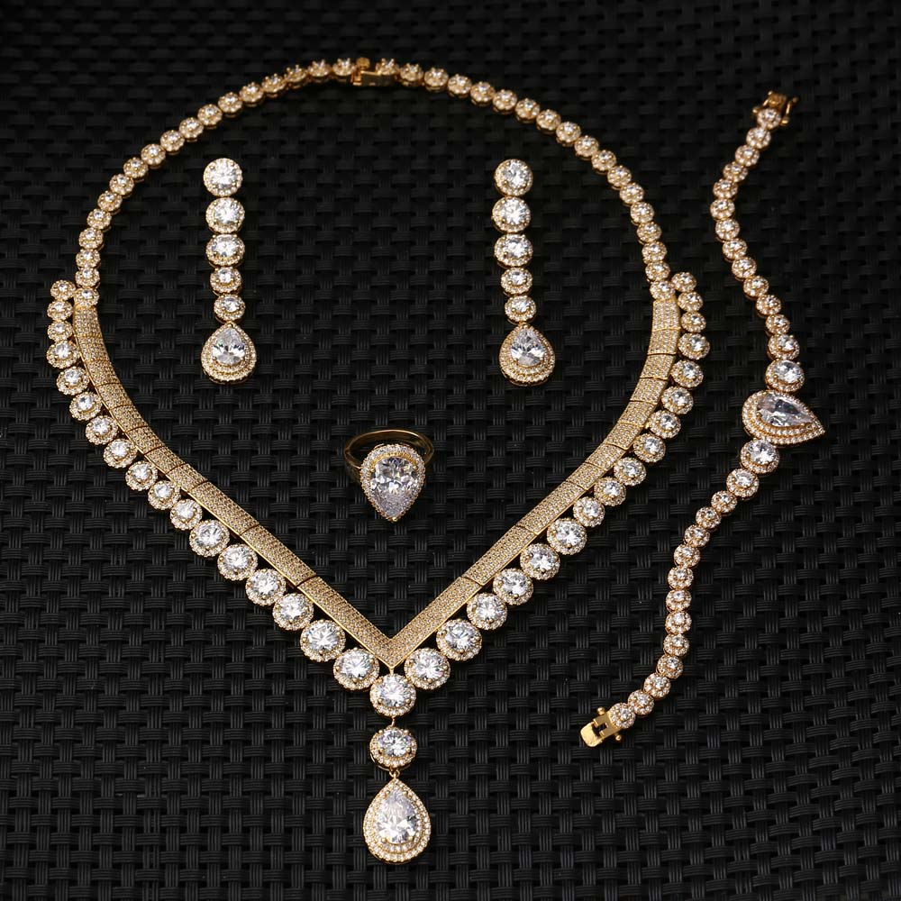 Custom Heavy Bridal brass Necklace jewelry Sets Fancy Long Chain White Stone Necklace Set E-7325