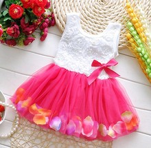 Fashion Summer Colorful Mini Tutu Dress Petal Hem Dress Princess Baby Dress