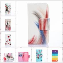 Flower Pattern PU Leather Phone Case For Samsung Galaxy Core 2 G355H SM-G355H G3559 TPU Back Cover Flip Stand Wallet Bag Holder