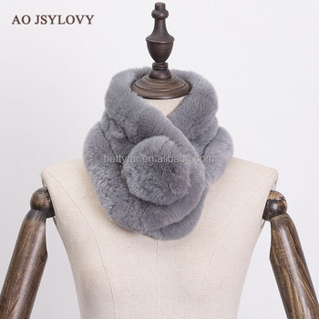 Factory manufacturer wholesale good price woman rex rabbit fur scarf