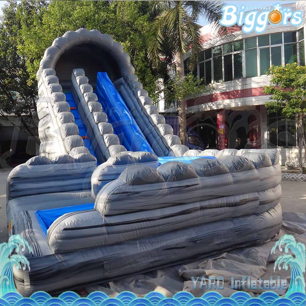 Inflatable Water Slide Instructions: Pvc Giant Inflatable Double Water Slide With Pool For