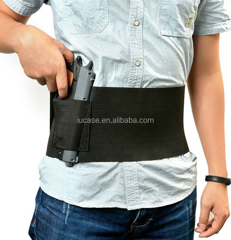 Adjustable Neoprene Belly Band Pistol Gun Holster Concealed Carry With Dual Magazine Pouches for Women Men Fits Glock 19 17 42