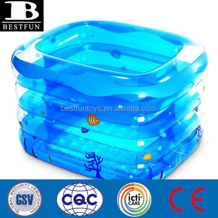 New Transparent Inflatable Kids Bath Tub Baby Square Bath Tubs ...