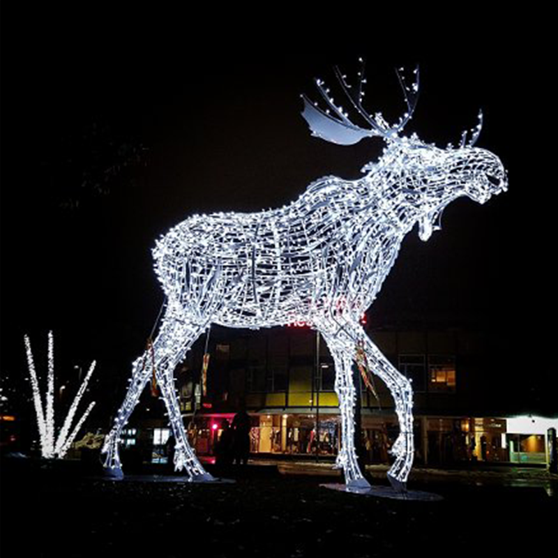outdoor life size led elk outdoor decorations life size led large animals moose for city street christmas light displays - Outdoor Moose Christmas Decorations