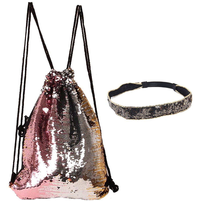 ZTL Mermaid Sequin Drawstring Backpack Magic Reversible Glitter String Bag Shoulder Bag with Sequins Headband