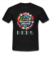 Drink Around the World Men's black T-shirt size M to 5XL