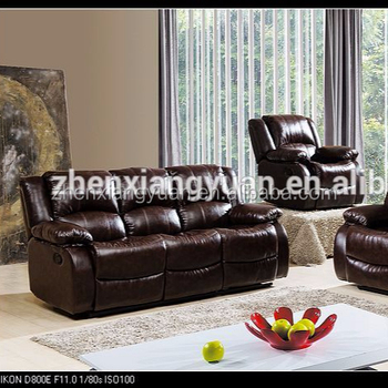 Brown Real Leather Recliner Sofa Set