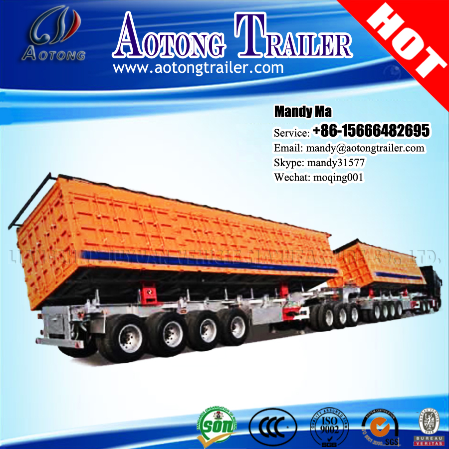 Aotong brand two side dump semi trailers, double dumpers for sale in Africa