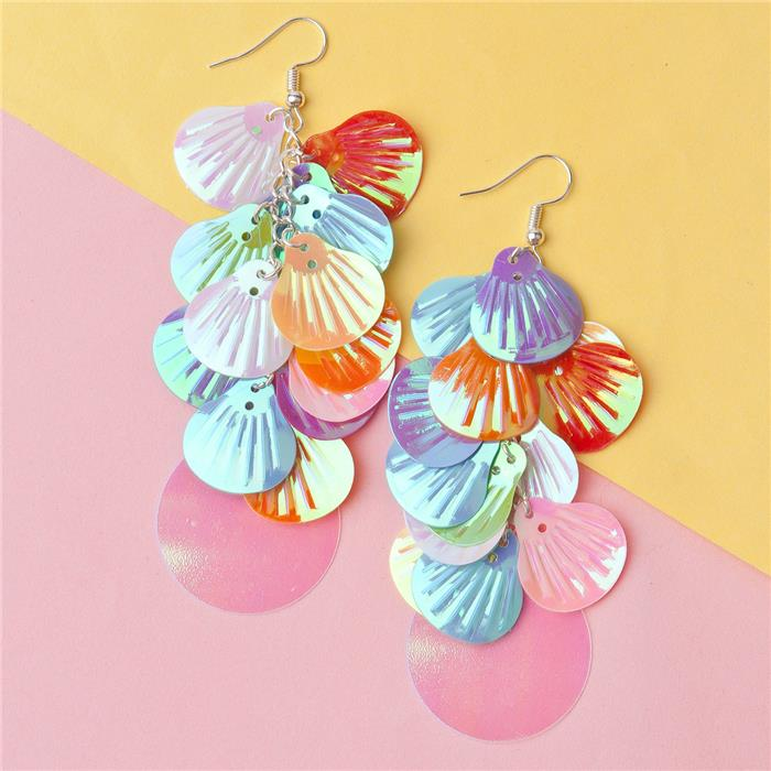 PVC Paillette Sequin Earrings At Random AB Color Shell Round