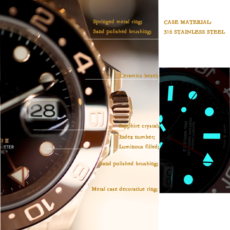 OEM Branded DLC coated Stainless Steel Wrist Watches with Luminousfor Men diver watch automatic
