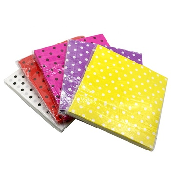 Disposable Tableware Sets Party Polka Dot Printing Beverage Paper Nakpins for Wedding Decor Birthday Party Supplies