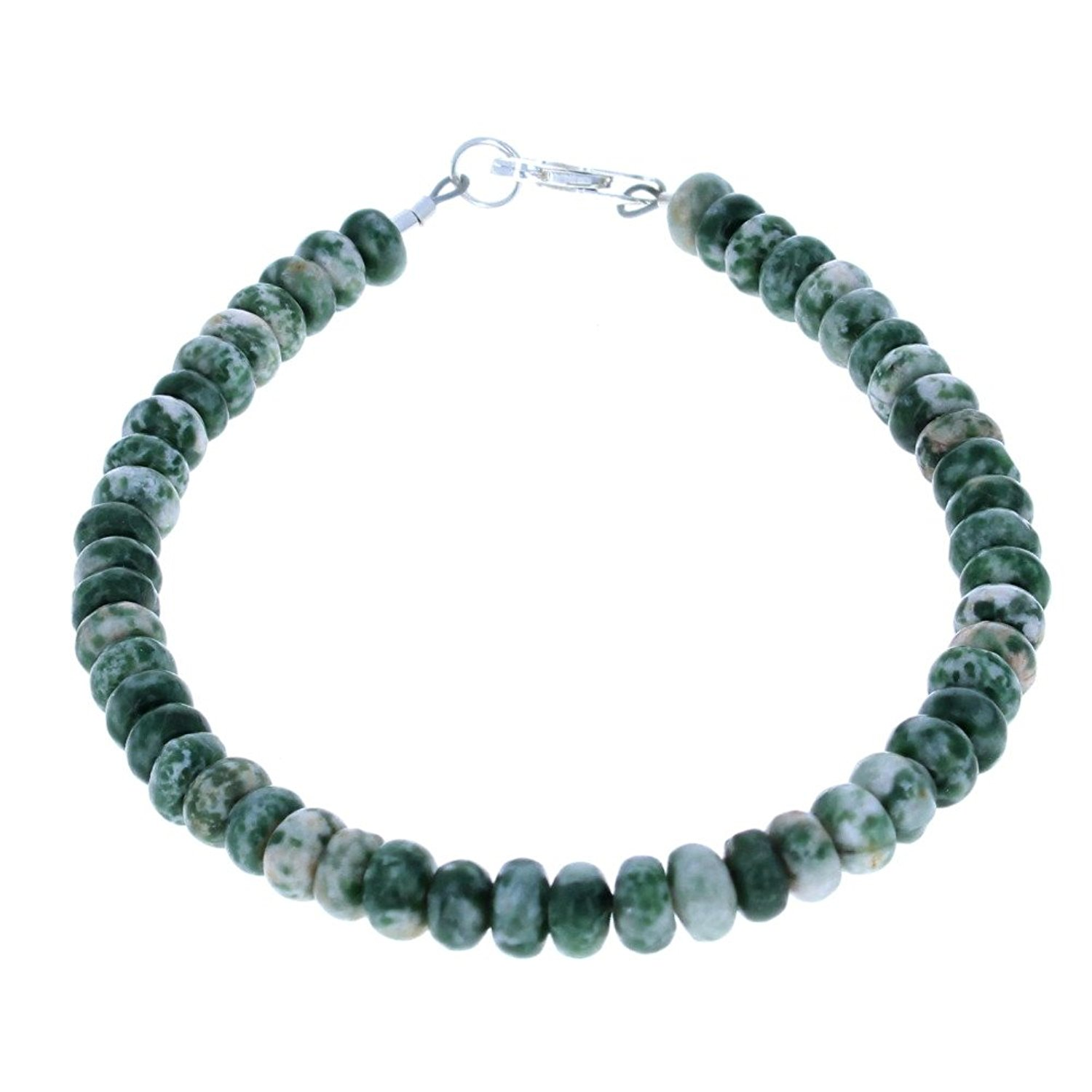 Timeless-Treasures Womens Tree Agate Rondelles Ladies Beaded Gemstone Anklet