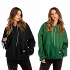 Women pullover Solid Hoodies Tops Long Sleeve Pocket Sweatshirt with Pocket