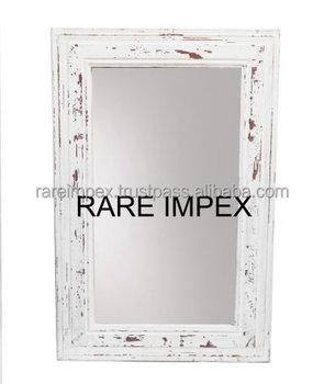 Distressed White Wooden Mirror Frames
