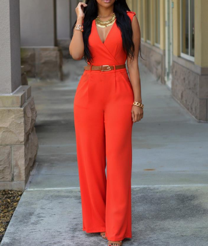 2018 Europese en Amerikaanse Vrouwen Jumpsuit Mode Siamese Broek Losse Slim Casual Red Jumpsuit