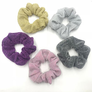 Good Elasticity Beauty Glitter Hair Scrunchies Bulk 10cm Metallic Fabric Ponytail Holder Stretchy Hair Tie 30 pcs/lot 5 Colors