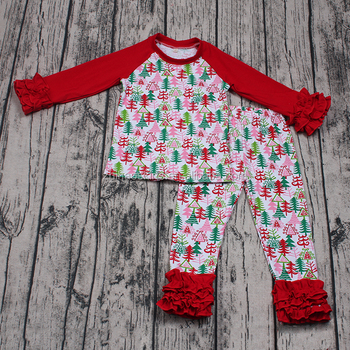 a92c405f35f1 In stock baby boys girls Christmas party wear long sleeve boutique outfits  2pcs xmas ruffle clothing