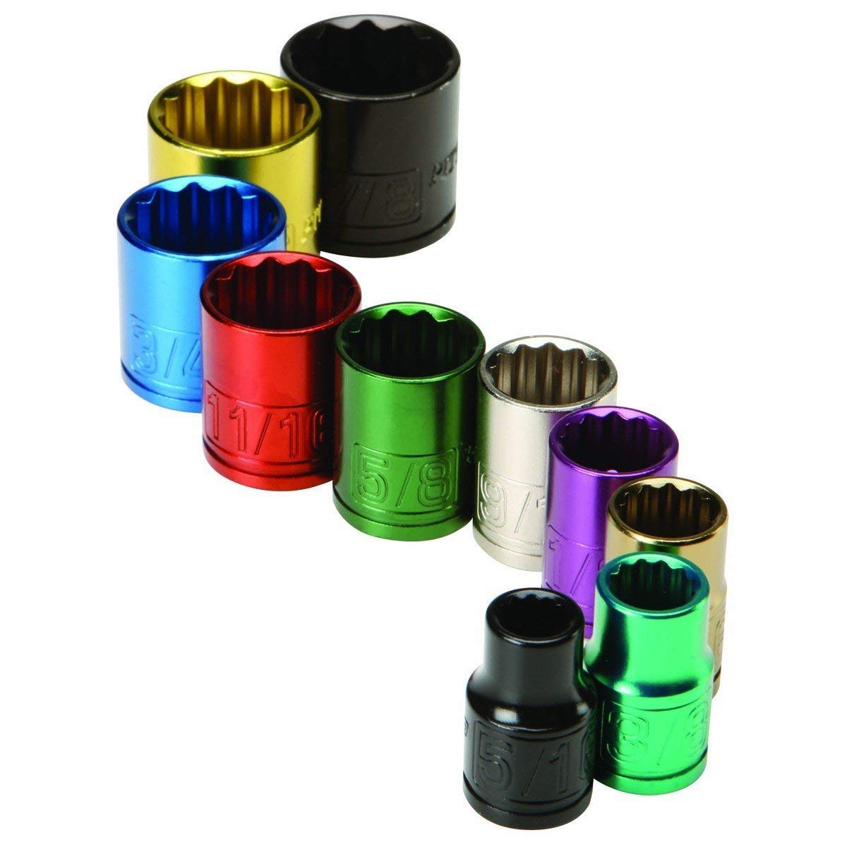 """""""ABC Products"""" - 10 Piece SAE ~ 3/8 Inch Drive - Shallow Well - Most Popular Size - Socket Set - Color Coded - For Easy Find (Sockets Sizes: 5/16 in, 3/8 in, 7/16 in, 1/2 in, 9/16 in, 5/8 in, 11/16 in, 3/4 in, 13/16 in, and 7/8 in)**"""