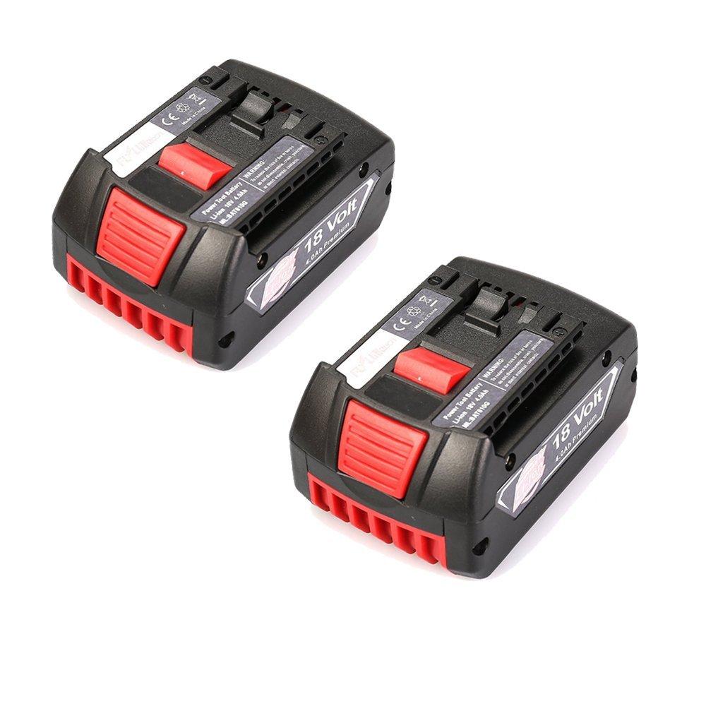 Flylinktech Bosch BAT609 18V 4000mAh LI-ION Cordless Battery Replacement for BAT609G,BAT618,BAT618G,BAT619,BAT619G,BAT610,BAT610G BAT622 (2 pack)