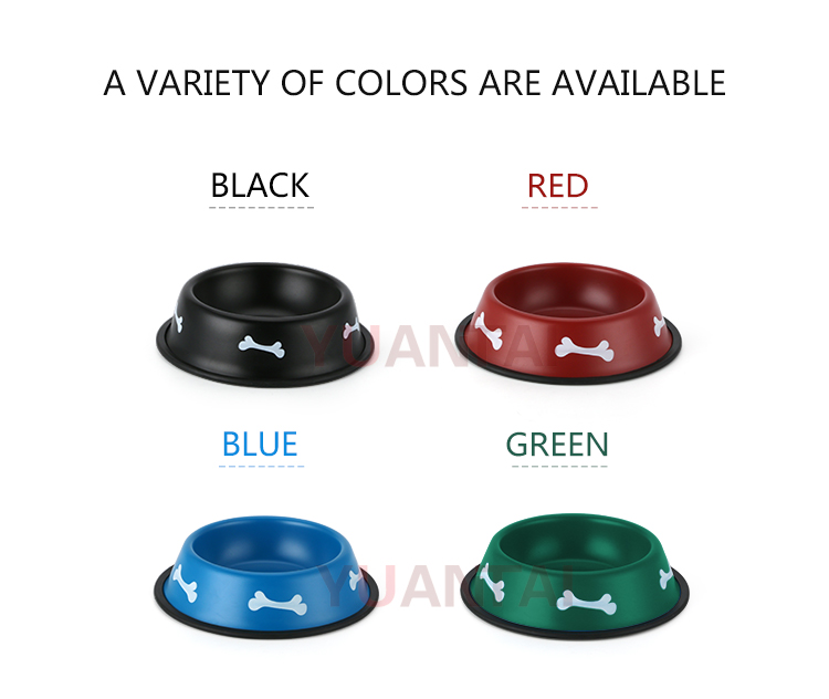 Hot sale colorful metal dog bowl pet food bowl cat bowl stainless steel with rubber bottom