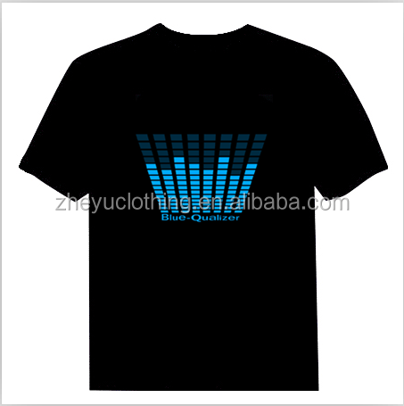 Black washable LED flashing el t shir ,party music t shirt