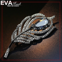 Silver Zircon Feather Brooches with Austrian Crystal, Scarf Buckle