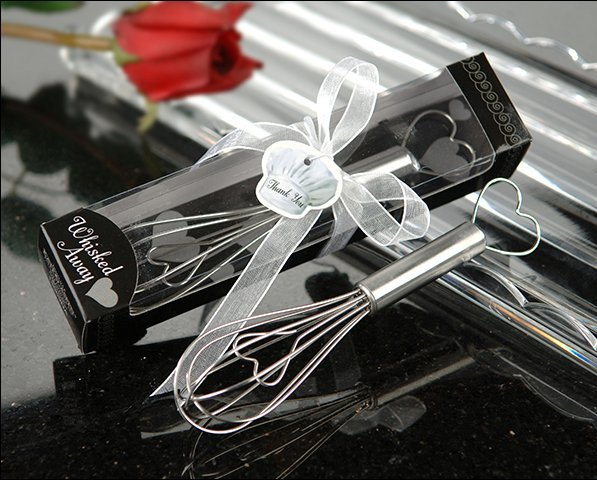 "Wedding Favors ""The Perfect Mix"" Black Kitchen Whisk Mixer Heart Shape Egg Beater Hand Egg Whisk"