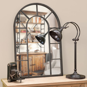 Large decorative arch window mirror with metal frame dor living room home furniture decor