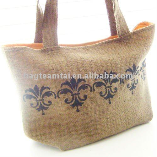 Burlap Farmers Market Tote with Fleur de Lis with Cantaloupe Lining