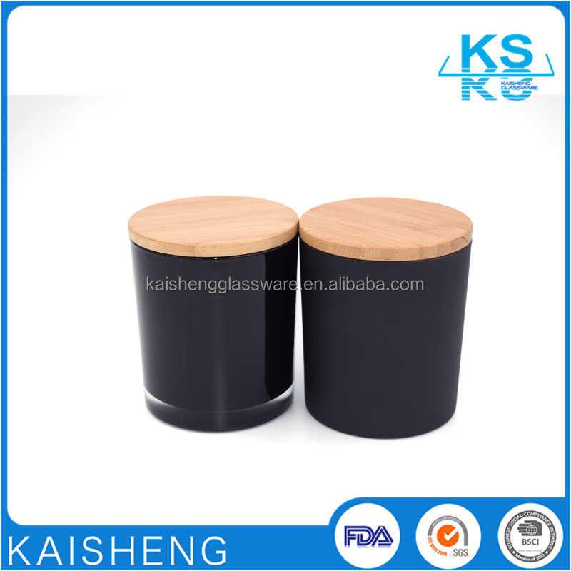 Wholesale black candle jars with cork lids for candle making