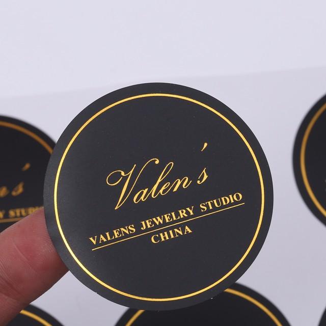 Cutting Round Shape Black Matt Paper Gold Foil Custom Sticker Print Stickers Product On