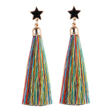 Five-pointed star tassel earrings wholesale fashion jewelry
