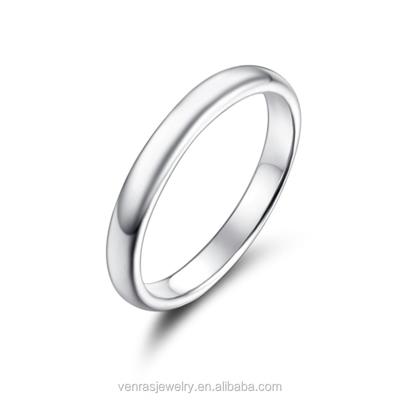 Simple Design Pure Silver Plain Women Wedding Ring in 925 Silver for Brithday Gift