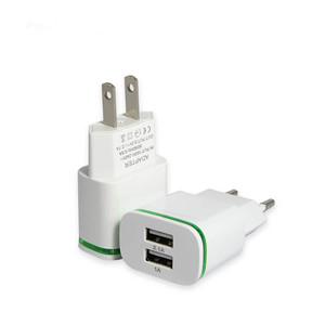 Dual USB Charger for iPhone Adapter 5V/2.1A Travel Universal EU Plug Wall Mobile Phone Chargers Fast Charging Device
