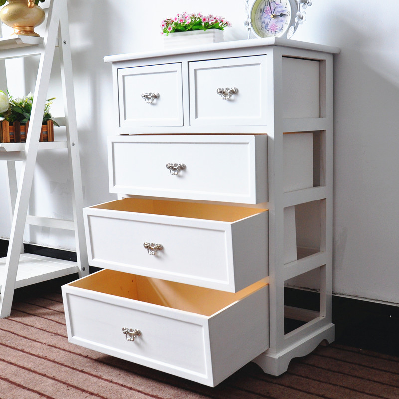 woonkamer meubels houten kast met 5 laden wit kleur kast met plank