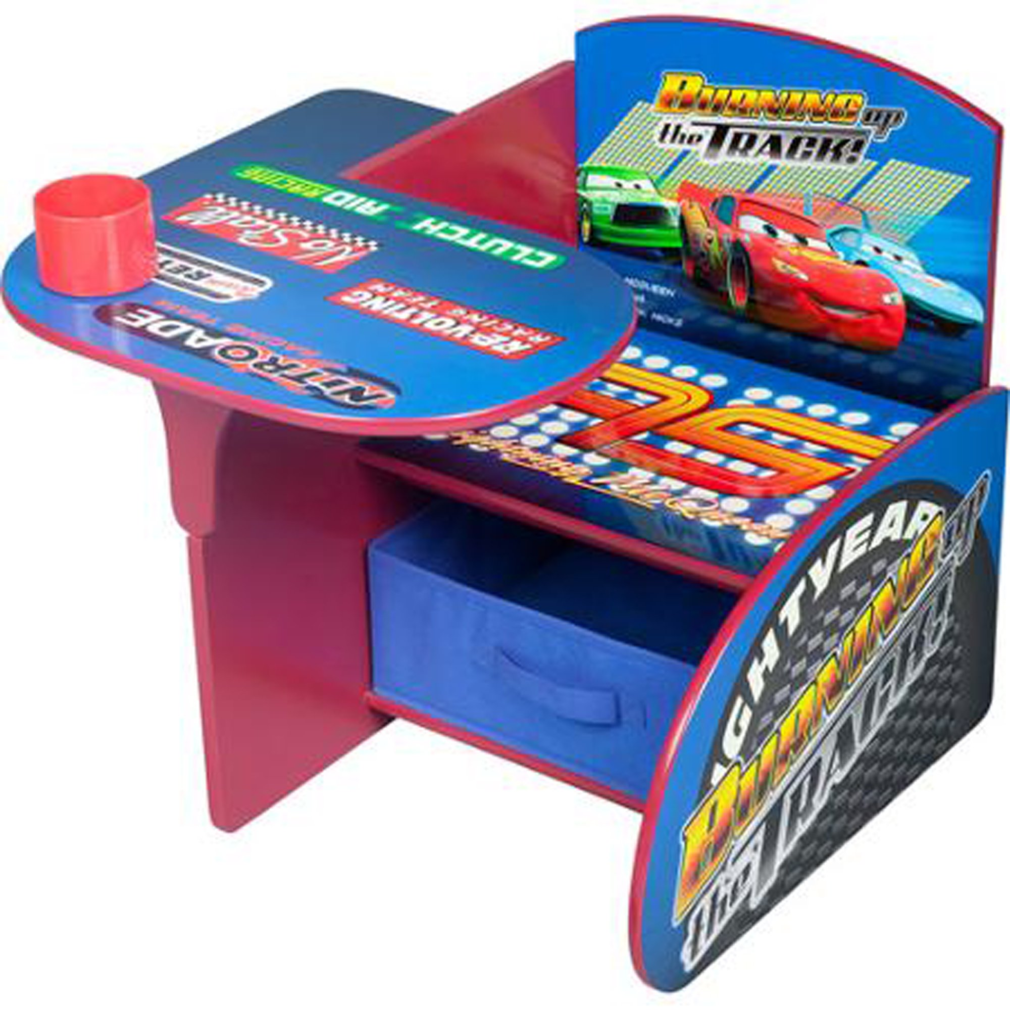 Disney Cars Desk & Chair with Storage Bin Characters Desk Set Fabric Storage Bin Seat Extra Storage Table Desk Chair MDF Construction Assembly Required Sits Low Children Furniture