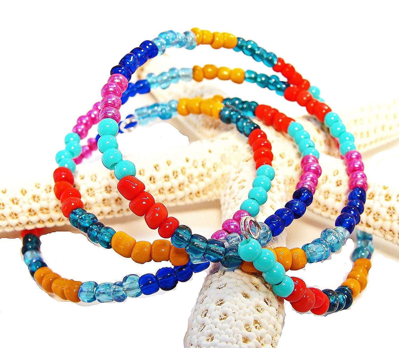 Gypsy, Bohemian, Calypso style Wrap Around Bracelet with Red, Fucshia, Orange, Blue, Pink and Turquoise Beads