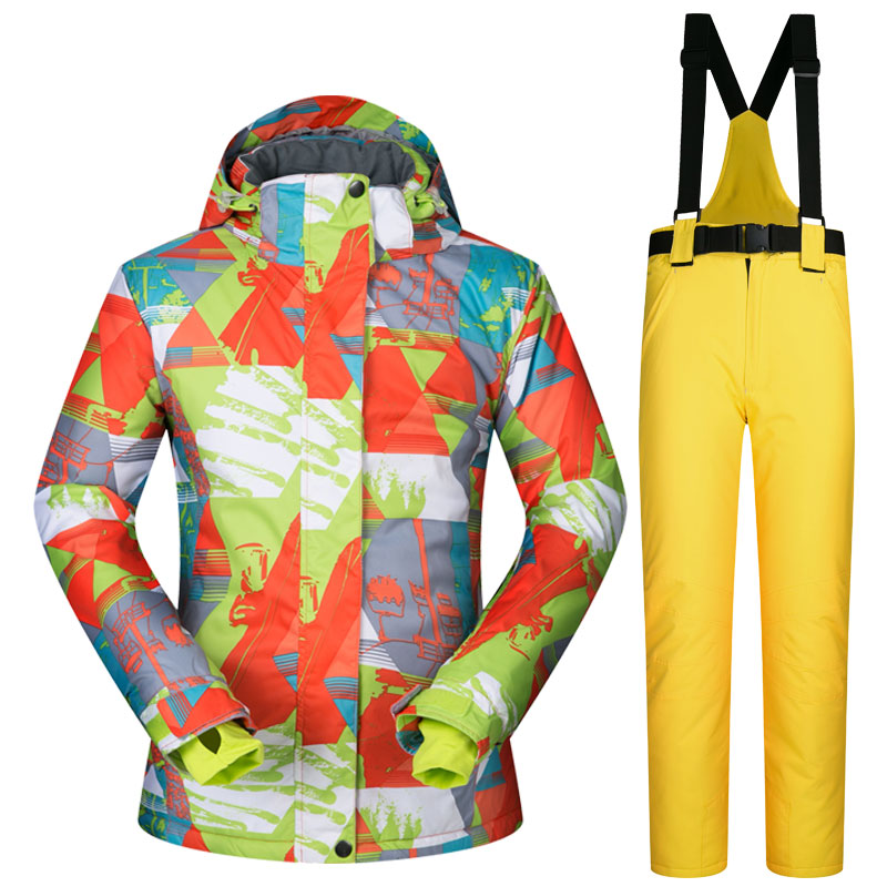 High Quality Winter Skiing Suit Women Snowboard Wear Snow Jacket And Pants Colorful Clothes Windproof Waterproof Coat + Trousers