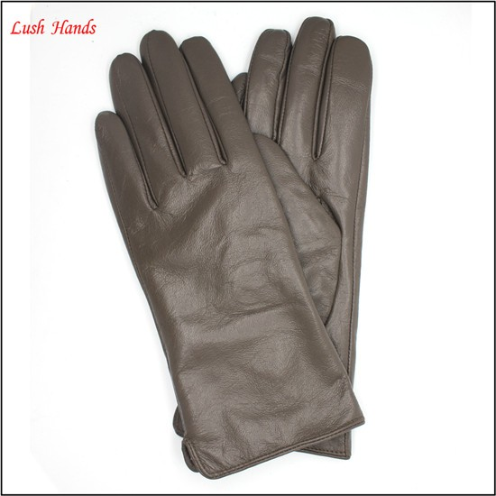 2016 ladies fashion simple warm winter dress leather gloves grey