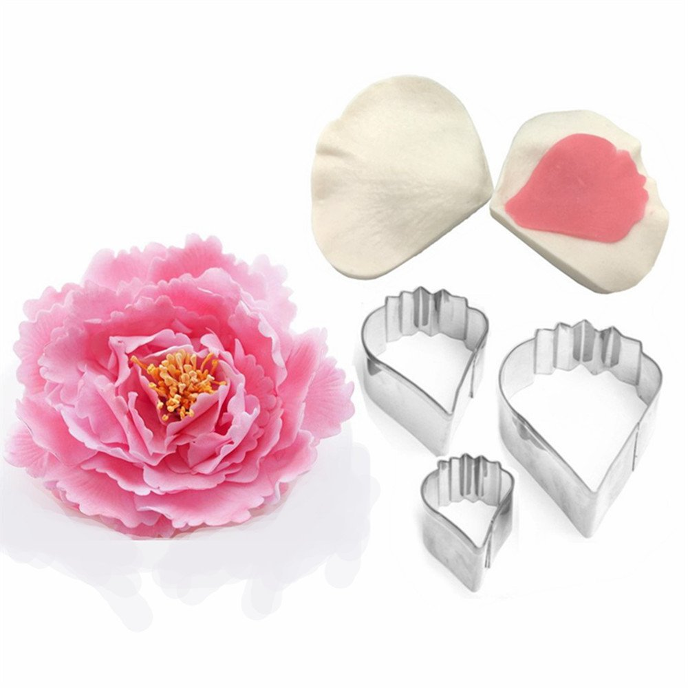 AK ART KITCHENWARE Peony Flower Tool Kit Sugar Flower Silicone Veiner Baking Mold Stainless Steel Cookie Cutter A358&VM066