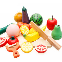 Kids pretend kitchen play toy wooden magnetic cutting fruit set fruit