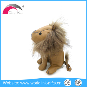 Small brown plush lion skin , leather lion toys christmas gift