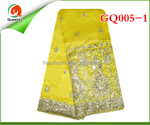 high quality fashion african george fabric, raw silk george lace embroidery fabric for party wedding dress GQ005