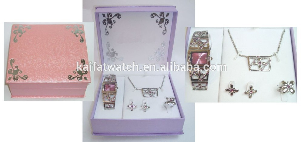 zebra leopard print diamond watch and animal pattern necklace earrings and mirror set