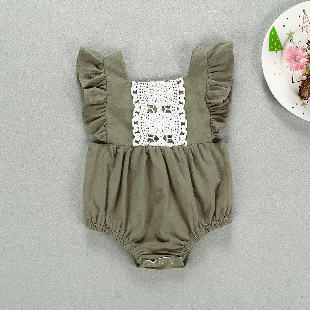 <strong>Baby</strong> Bodysuit Flare Sleeves <strong>Baby</strong> Solid Ruffle <strong>Jumpsuit</strong> with Lace Cute <strong>Baby</strong> Summer Playsuit Infant Outfit