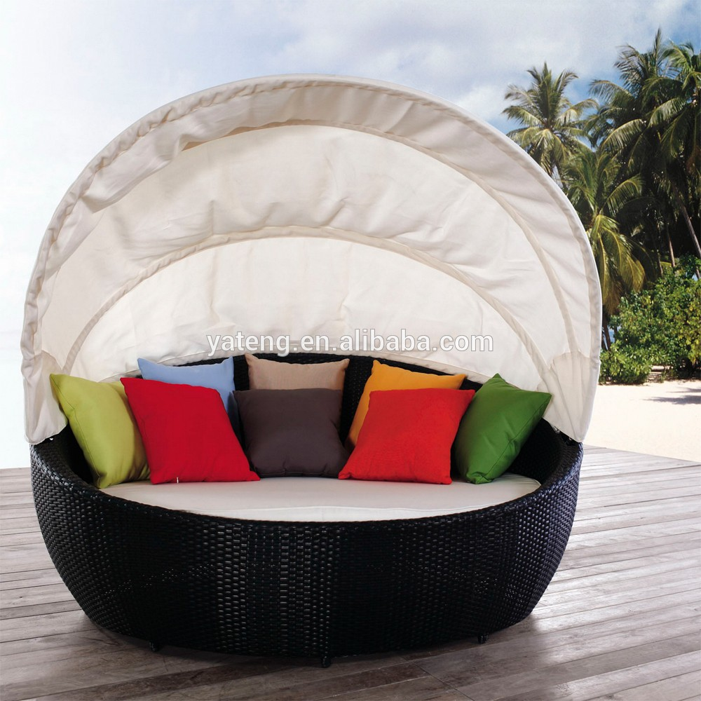 Round Patio Sun Daybed With Canopy Rattan Outdoor Furniture