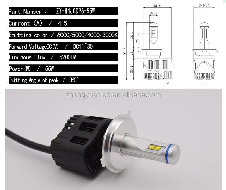 Zy 6500k 9012 Led Car Headlight Car P6 Led Projectors Headlights ...