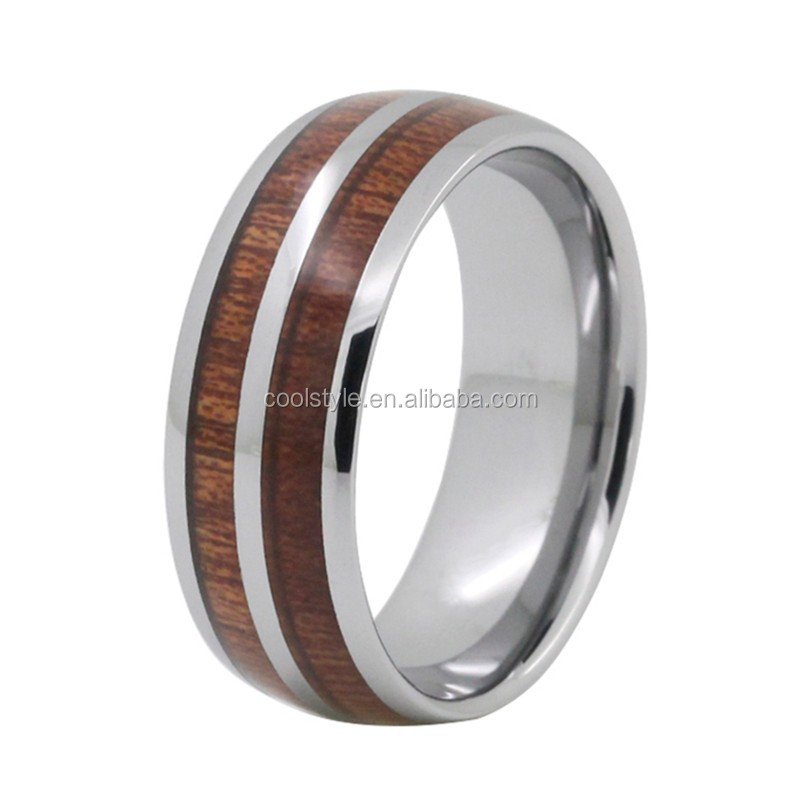 couples promise rings sets titanium domed band wood custom