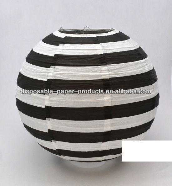 Black And White Candy Stripe Round Paper Lantern 35cm Dimensions 14 Dia
